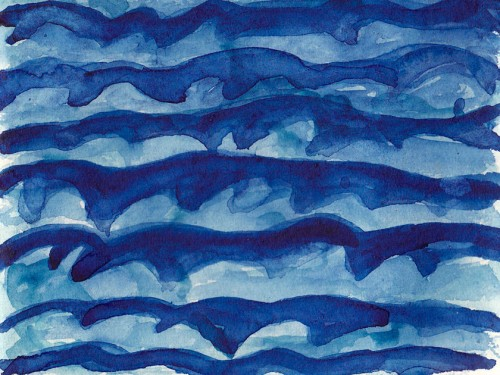 """Around the Blue 14"" 2011 (watercolor on paper, 5 x 6"") Private collection."