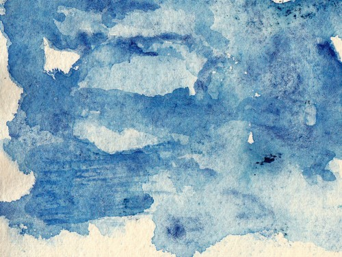 """Around the Blue 7"" 2011 (watercolor on paper, 5 x 6"")"