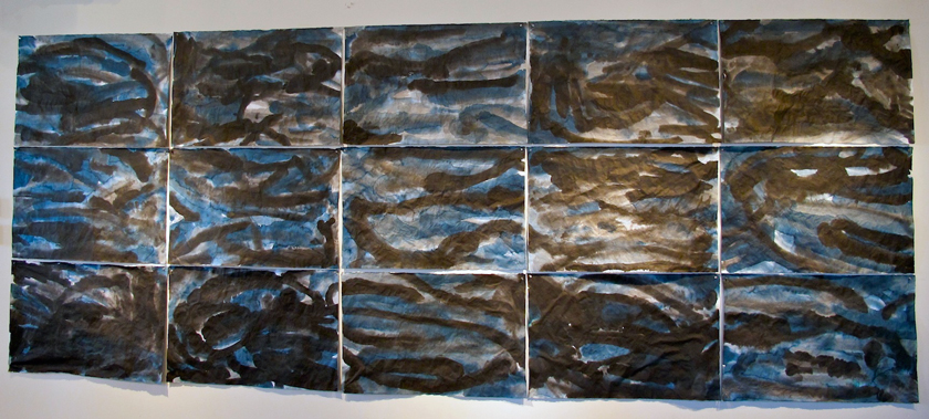 """Black and Blue"" 2012 (ink on Japanese paper [15 sheets], 75 x 190"")"