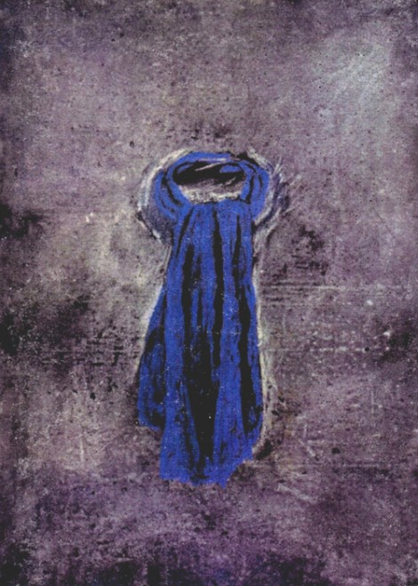"""Blue Scarf"" 1994 (pastel on paper, 41 x 30"") Private collection."