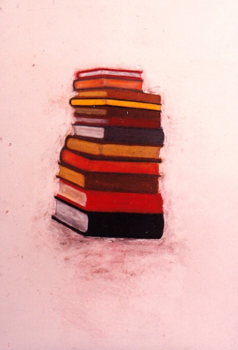 """Books"" 1994 (pastel on paper, 41 x 30"") Private collection."
