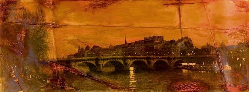 """Bridge, Paris"" 1998 (ink on photocollage, 23 x 61"") Private collection."