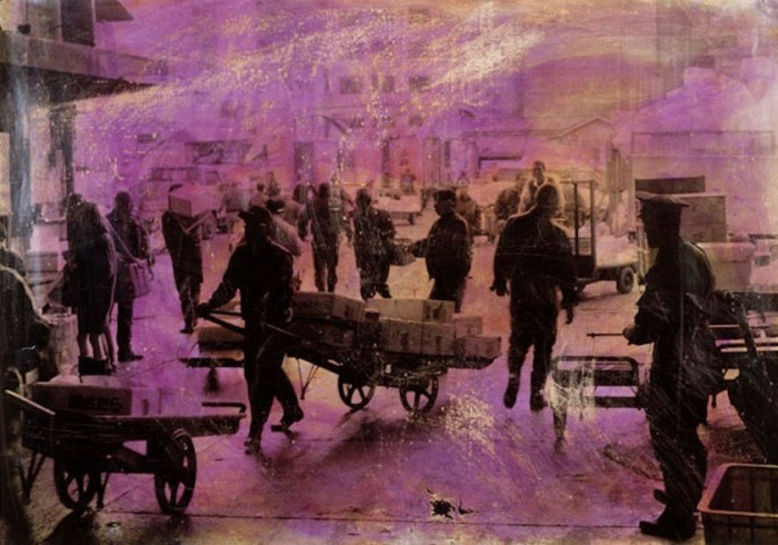 """Fish Market, Tokyo"" 1996 (ink on photograph, 32.5 x 46.5"")"