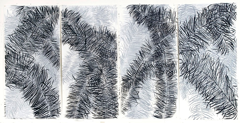 """Four Palms"" 2008 (India ink on tracing paper collaged [4 sheets], 72 x 148"")"