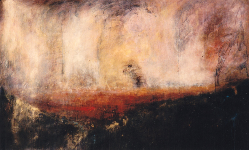 """Plain with Fire"" 1990 (acrylic on paper, 42 x 69"") Private collection."