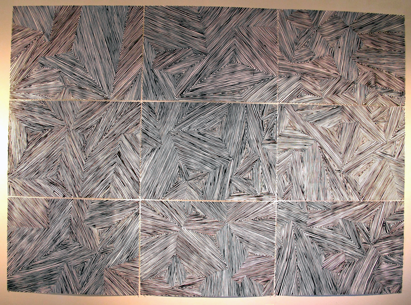 """""""Puzzle"""" 2013 (India ink on paper [9 sheets], 90 x 126"""")"""