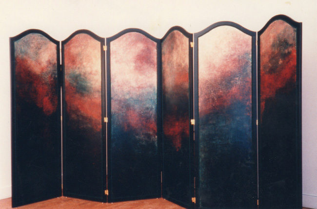 """Red and Gold"" 1993 (six-paneled screen, acrylic on wood, 84 x 162"")"