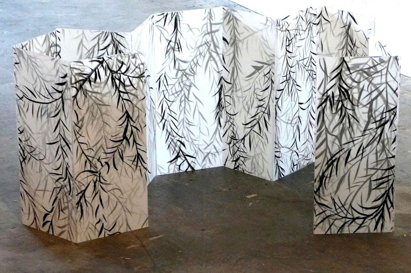 """Set Without a Play (Model) 2"" 2010 (ink on layered paper on plexiglass [9 panels] 12 x 6"" each)"