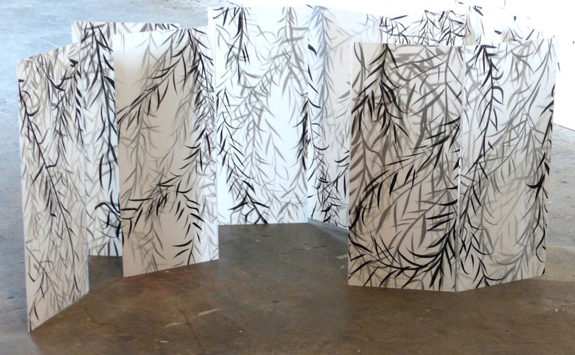 """Set Without a Play (Model)"" 2010 (ink on layered paper on plexiglass [9 panels] 12 x 6"" each)"