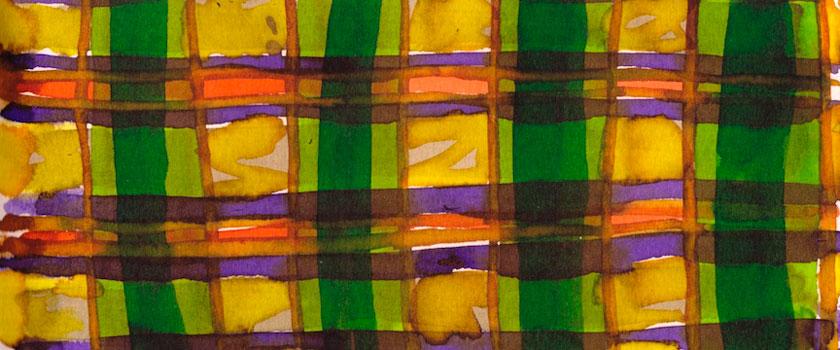 """Tartan Sketch 6"" 2012 (ink on paper, 3.5x8.25"")"