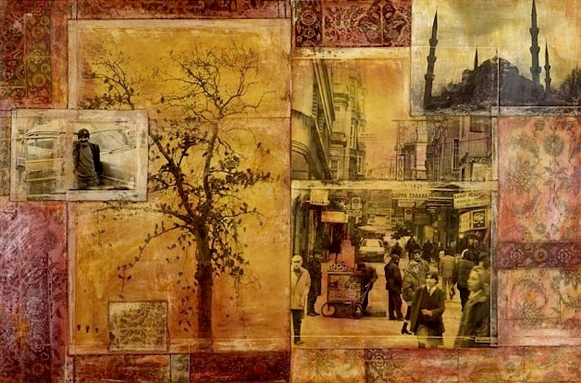 """Taxi Driver, Istanbul"" 1998 (ink on photocollage, 50 x 77"") Private collection."