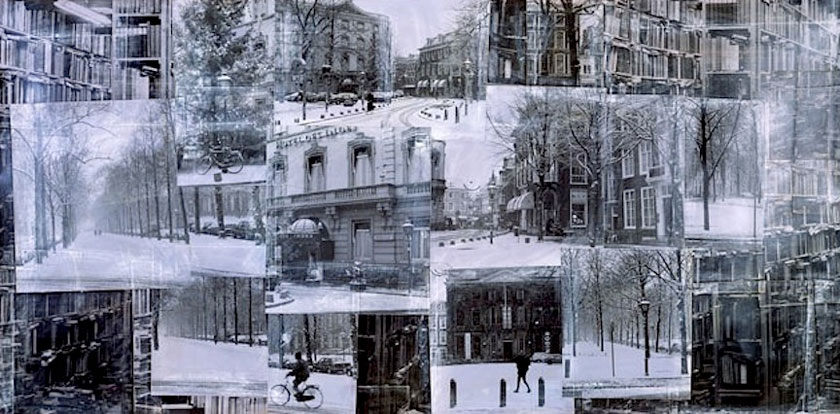 """Hotel des Indes, The Hague"" 1998 (ink on photocollage, 45 x 93"")"