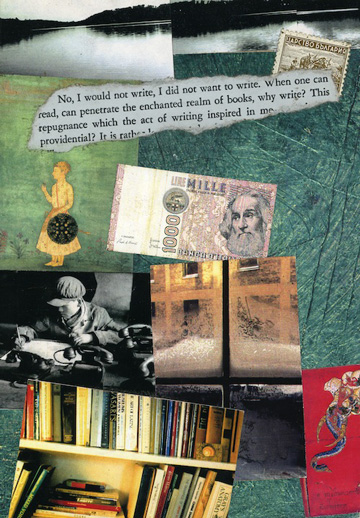 """Why Write?"" 1994 (mixed media collage on paper, 7 x 5"")"