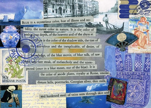 """Blue"" 1994 (mixed media collage on paper, 5 x 7"")"