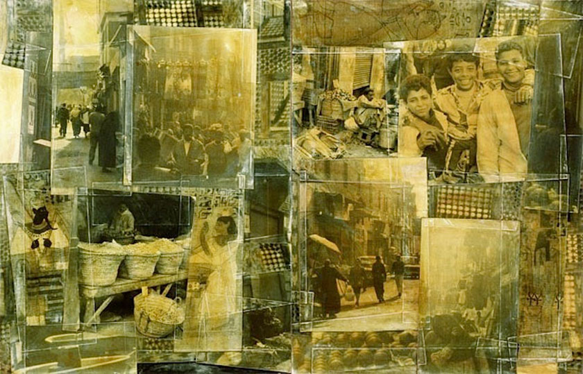 """Bazaar, Cairo"" 1998 (ink on photocollage, 50 x 76"")"