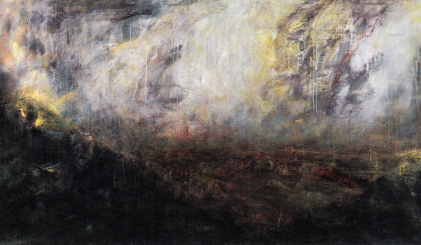 """""""Hills, Plain, Storm"""" 1989 (acrylic on paper, 42 x 73"""") Private collection."""