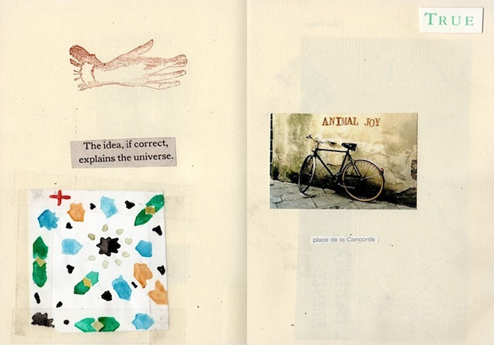 """""""The Idea"""" from <em>The Brown Daybook</em> 2010 (mixed media collage on paper, 7 x 10"""")"""