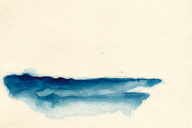 """""""Around the Blue 5"""" (ink on paper, 4.75 x 6"""")"""