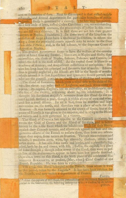 """Codex Carolinus"" 2014 (ink and graphite on 18th c. paper, 8.5 x 5.25"")"