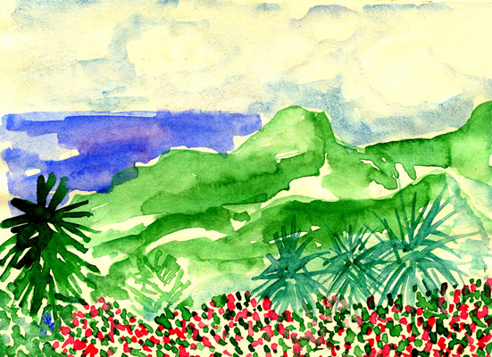 """Across a valley, mountains run bumpy as a dinosaur's back between bowls of cobalt-blue sea."""