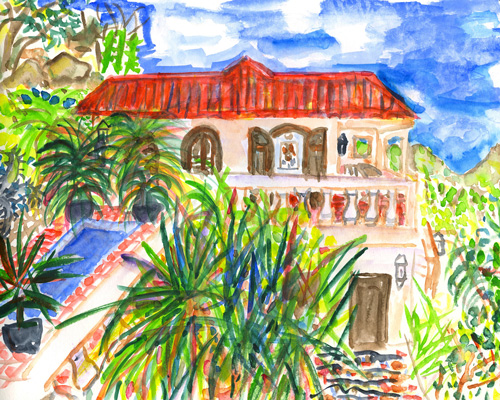 """""""The bright white hacienda-like villa spreads across the hill behind a long railing of balustrades. We love the setting, both wild and quiet. It faces a broad canvas of sea painted in a variety of blues by Homer or Monet, take your pick."""""""